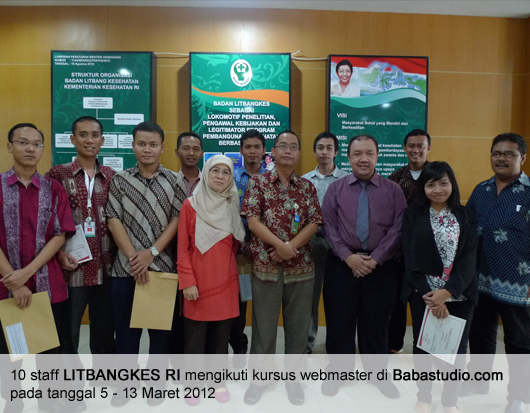 10 Staff BALITBANGKES RI mengikuti kursus di Babastudio.com
